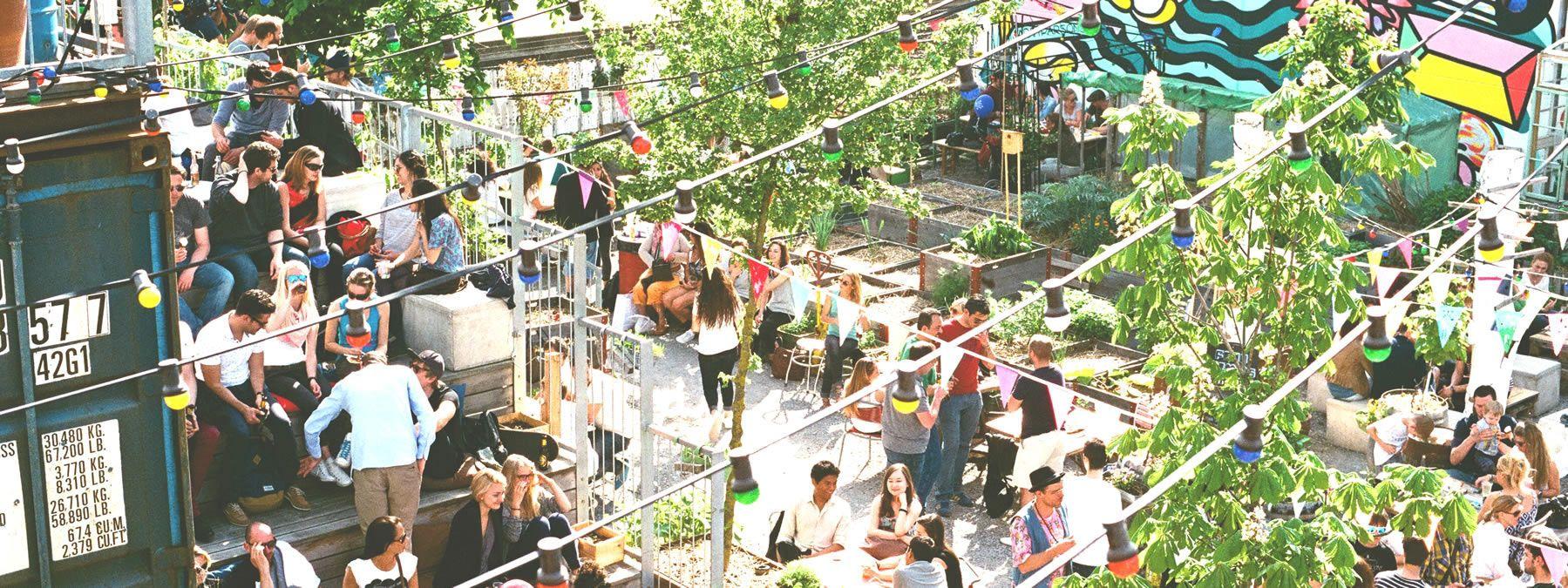 Frau Gerolds Garten. Sonnenterasse, Sommerrestaurant, Winterstube, Kunst und Stadtgarten. Geroldareal Zurich West